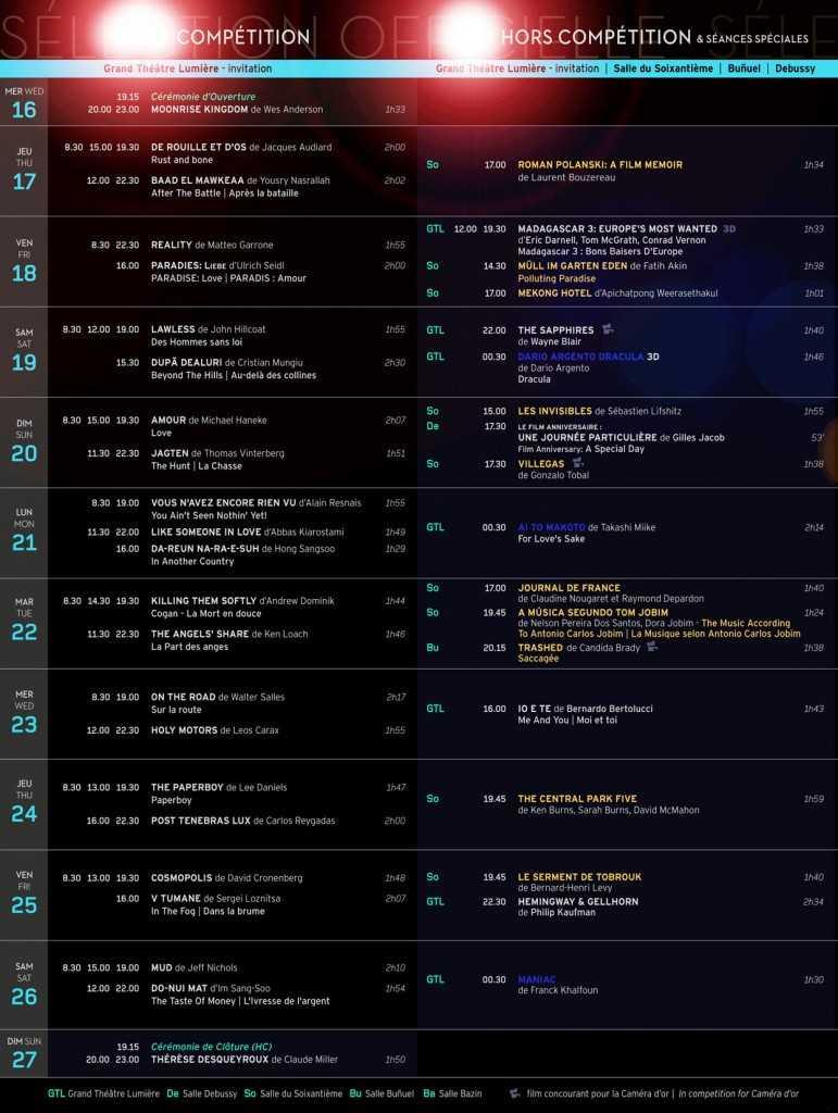 La liste officielle des projections des films en compétition à cannes - https://www.blogdecannes.fr