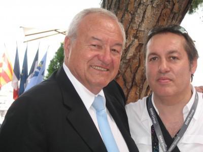 Festival du film  M.Brochant Maire de Cannes  et le journaliste  Hugo Mayer,