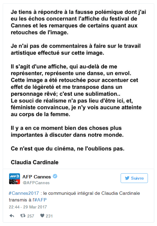 CANNES AFFICHE Réponse de Claudia Cardinale